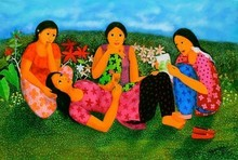 Figurative Acrylic Art Painting title 'Untitled 1' by artist Anjum Khan