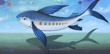 Animals Acrylic Art Painting title 'Flying Fish' by artist Bikash Mohanta