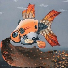 Animals Acrylic Art Painting title 'The Birth Of Fish From Mechanical Fish' by artist Bikash Mohanta