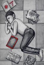 Figurative Pencil Art Drawing title The Solitude - Distance by artist R Gopakumar