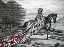 Figurative Pencil Art Drawing title The Solitude - Pandemic by artist R Gopakumar