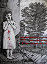 Figurative Pencil Art Drawing title 'The Solitude - Red Zone' by artist R Gopakumar