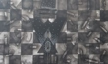 Abstract Mixed-media Art Drawing title 'Untitled 14' by artist Narendra Jatav
