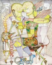 contemporary Mixed-media Art Painting title Saw 13 by artist Hrusikesh Biswal