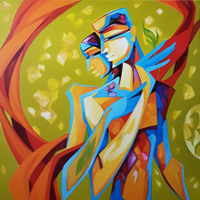 Figurative Acrylic Art Painting title 'Divine Bond' by artist Laxmi Mysore