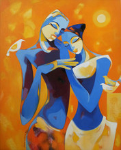Figurative Acrylic Art Painting title 'Enamored' by artist Laxmi Mysore