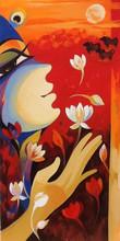 Religious Acrylic Art Painting title 'Krishna Calling' by artist Laxmi Mysore