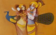 Religious Acrylic Art Painting title 'Radha Krishna 2' by artist Prabhakar Ahobilam