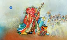 Ganesha Playing Sitar | Painting by artist M Singh | acrylic | Canvas