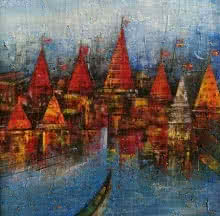 M Singh | Acrylic Painting title Banaras Ghat 1 on Canvas | Artist M Singh Gallery | ArtZolo.com