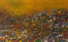 Cityscape Acrylic Art Painting title 'City Of Dream 6' by artist M Singh