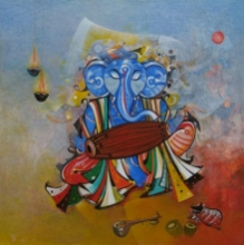 Religious Acrylic Art Painting title Ganesha Playing Dholak by artist M Singh