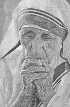 Figurative Pen Art Drawing title Epitome Of Compassion by artist Surya Murthy