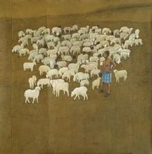 Figurative Acrylic-charcoal Art Painting title 'Baa Baa White Sheep' by artist Santanu Debnath