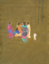 Figurative Acrylic-charcoal Art Painting title 'Gossip' by artist Santanu Debnath