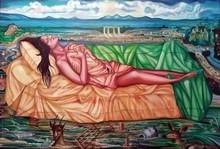 Figurative Oil Art Painting title Deluge Of Dreams by artist Sukesan Kanka