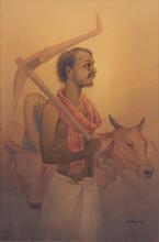 Figurative Watercolor Art Painting title Farmer by artist Rajib Gain