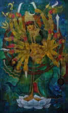 Religious Acrylic Art Painting title 'Mahadevi' by artist N P Rajeshwarr