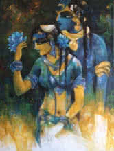 Shiv Parvati 2 | Painting by artist N P Rajeshwarr | acrylic | Canvas