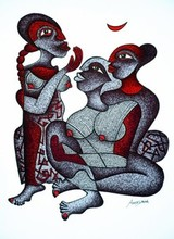 Figurative Pen Art Drawing title Gossiping Girls by artist Arvind Sharma