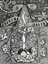 contemporary Pen-ink Art Drawing title Yoga Nilai by artist V Vasandan