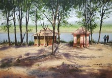 Landscape Watercolor Art Painting title A River Side by artist Niketan Bhalerao
