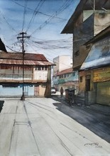 Cityscape Watercolor Art Painting title Street Of Village by artist Niketan Bhalerao