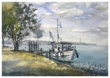 Landscape Watercolor Art Painting title Boat Kodi Beach Ksfarvez by artist KS Farvez