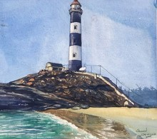 Landscape Watercolor Art Painting title Kaup Lighthouse Ksfarvez by artist KS Farvez