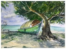 Landscape Watercolor Art Painting title Beach by artist KS Farvez