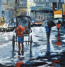 Cityscape Watercolor Art Painting title Kolkata13 by artist Raju Sarkar
