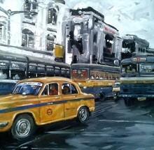 Cityscape Acrylic Art Painting title Kolkata 10 by artist Raju Sarkar