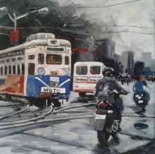 Cityscape Acrylic Art Painting title Kolkata 11 by artist Raju Sarkar