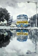 Cityscape Watercolor Art Painting title Kolkata Street 2 by artist Raju Sarkar