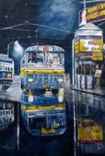 Cityscape Watercolor Art Painting title Kolkata Street 3 by artist Raju Sarkar
