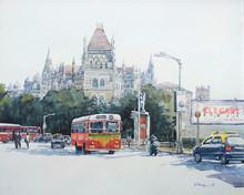 Cityscape Watercolor Art Painting title Mumbai by artist Raju Sarkar