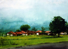 Landscape Gouache Art Painting title Untitled 14 by artist Azharuuddin Inamdar