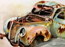 Transportation Watercolor Art Painting title Old And Beautiful by artist Yojana Dehankar