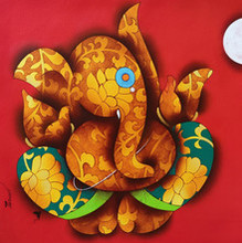 Religious Acrylic Art Painting title Ganesha 4 by artist Paras Parmar