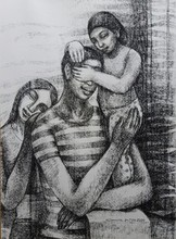Figurative Dry-pastel Art Drawing title Father Daughter Affection by artist Sumana Nath De