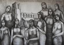 Figurative Dry-pastel Art Drawing title Golden Memories by artist Sumana Nath De