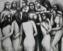 Figurative Dry-pastel Art Drawing title Last Supper by artist Sumana Nath De