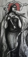 Figurative Dry-pastel Art Drawing title Rati by artist Sumana Nath De