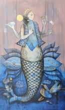 Religious Acrylic Art Painting title Vishnumatsya Avatar 2 by artist Pooja Shelke