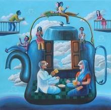 Figurative Acrylic Art Painting title Chay Pe Charcha by artist Sanju Das