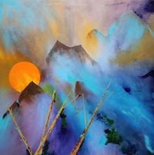 Nature Acrylic Art Painting title Mountains by artist Sanjay Dhawale
