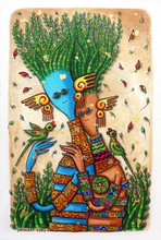 Figurative Mixed-media Art Painting title Love Duo by artist Dhimant Vyas