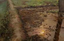 Landscape Oil Art Painting title Farm Water by artist Shraddha Singh