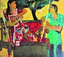 Figurative Oil Art Painting title Gossip by artist Subhash Babhulkar
