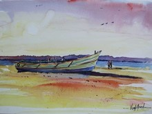 Seascape Watercolor Art Painting title Boat at Thengai Patnam by artist Vivekanand Viswam